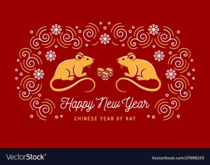 Year of the Rat 2020 Chinese zodiac. Happy New Year card, Rat icon, trendy swirls on a red background. Vector card